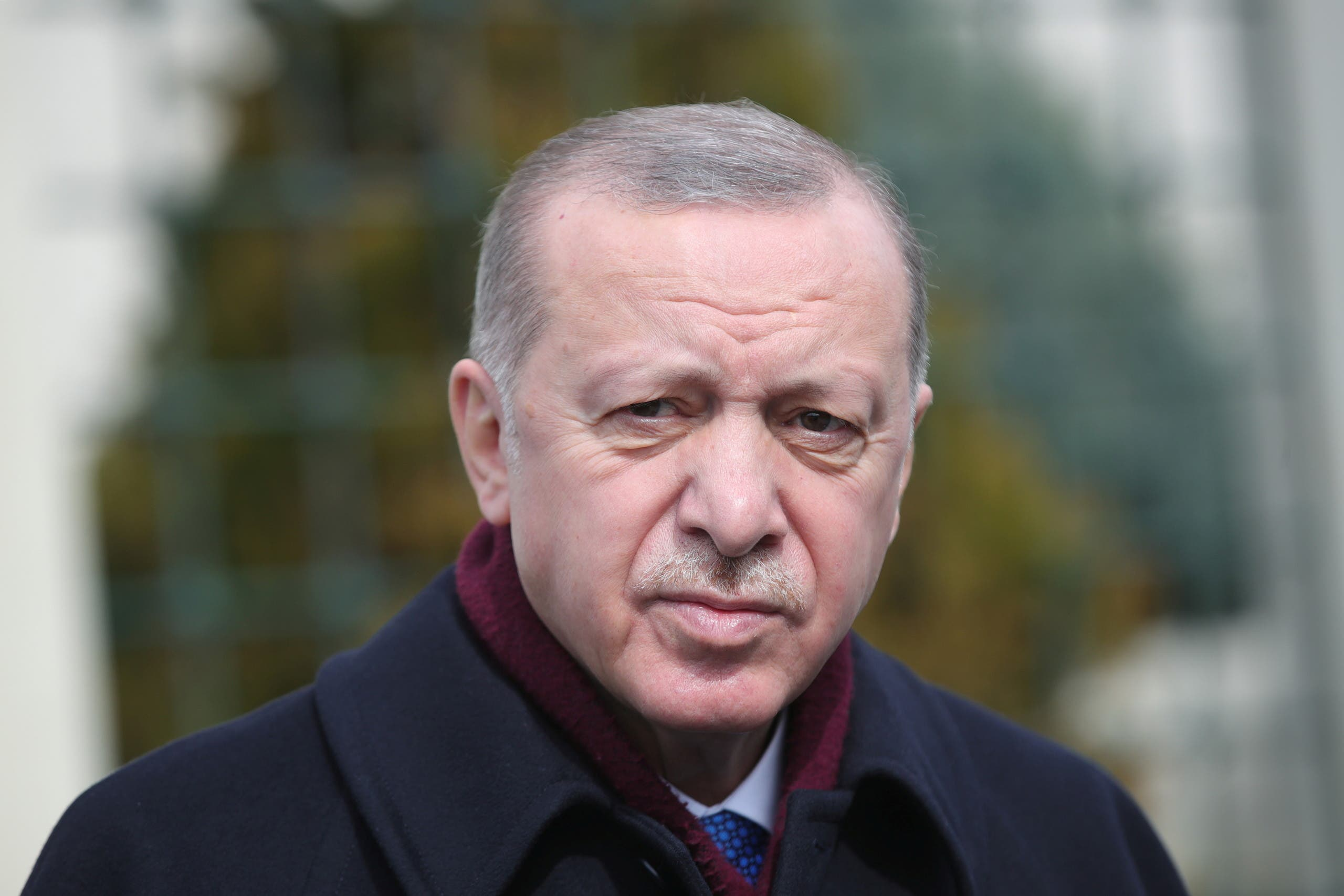 Turkish President Recep Tayyip Erdogan looks on as he addresses the media after the Friday prayers in Istanbul, Turkey March 12, 2021. (Reuters)
