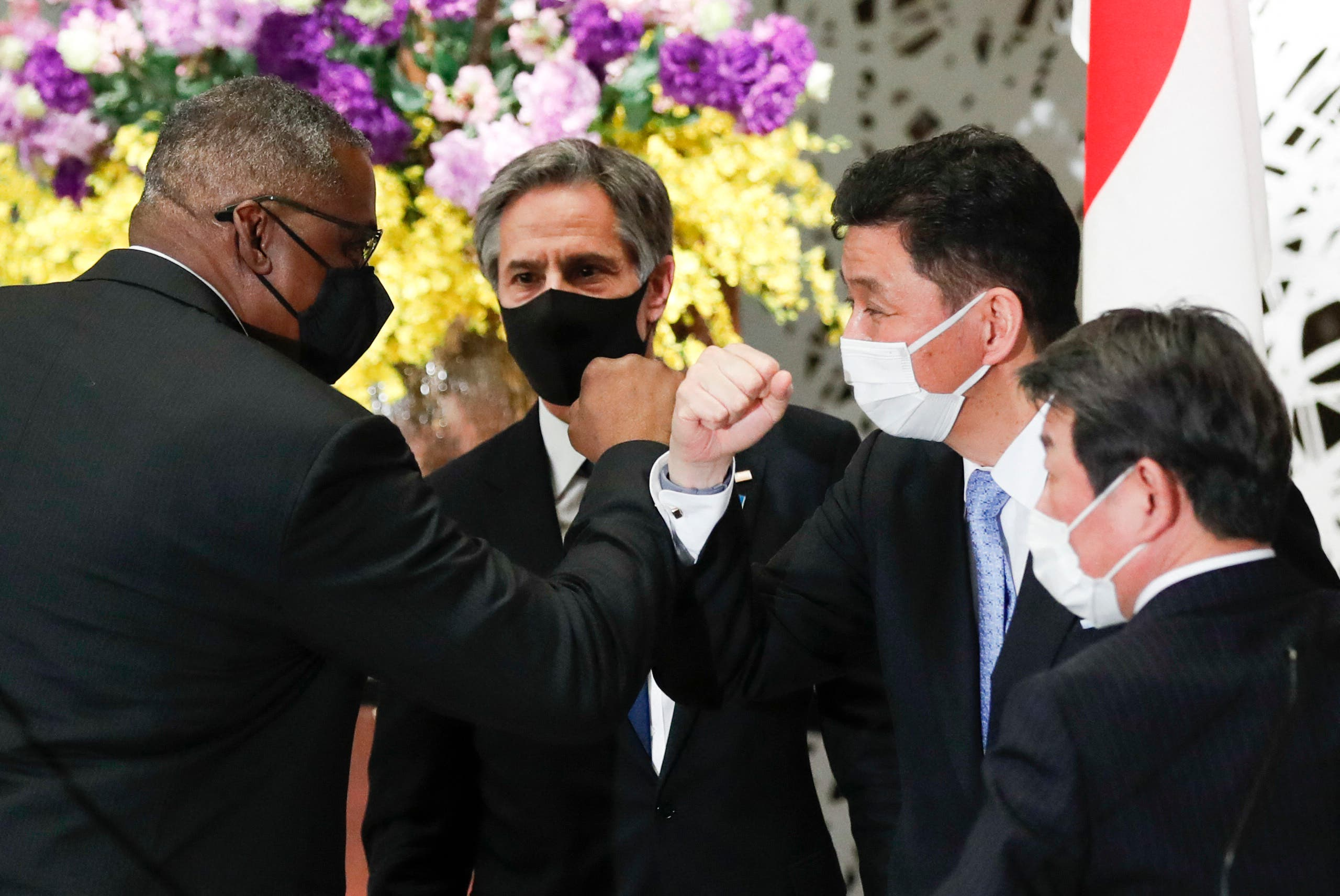 US Secretary of State Antony Blinken and Defense Secretary Lloyd Austin leave after their joint press conference with Japan's Foreign Minister Toshimitsu Motegi and Defence Minister Nobuo Kishi. (AFP)