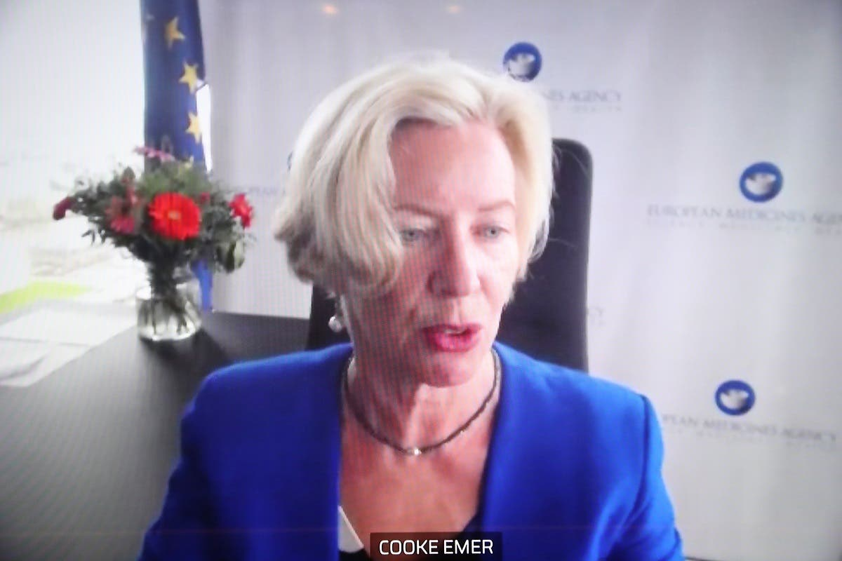 European Medicines Agency Executive Director, Emer Cooke, appears on screen during a videoconference in Brussels, Belgium, on March 16, 2021. (Reuters)