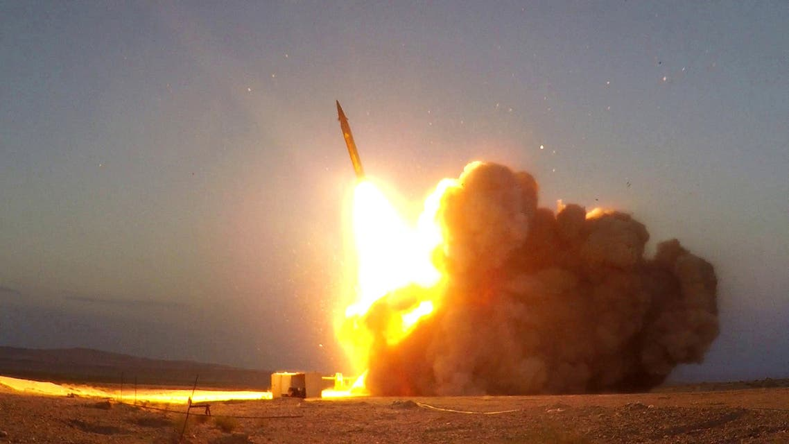 A missile unveiled by Iran is launched in an unknown location in Iran, Aug. 20, 2020. (Reuters)