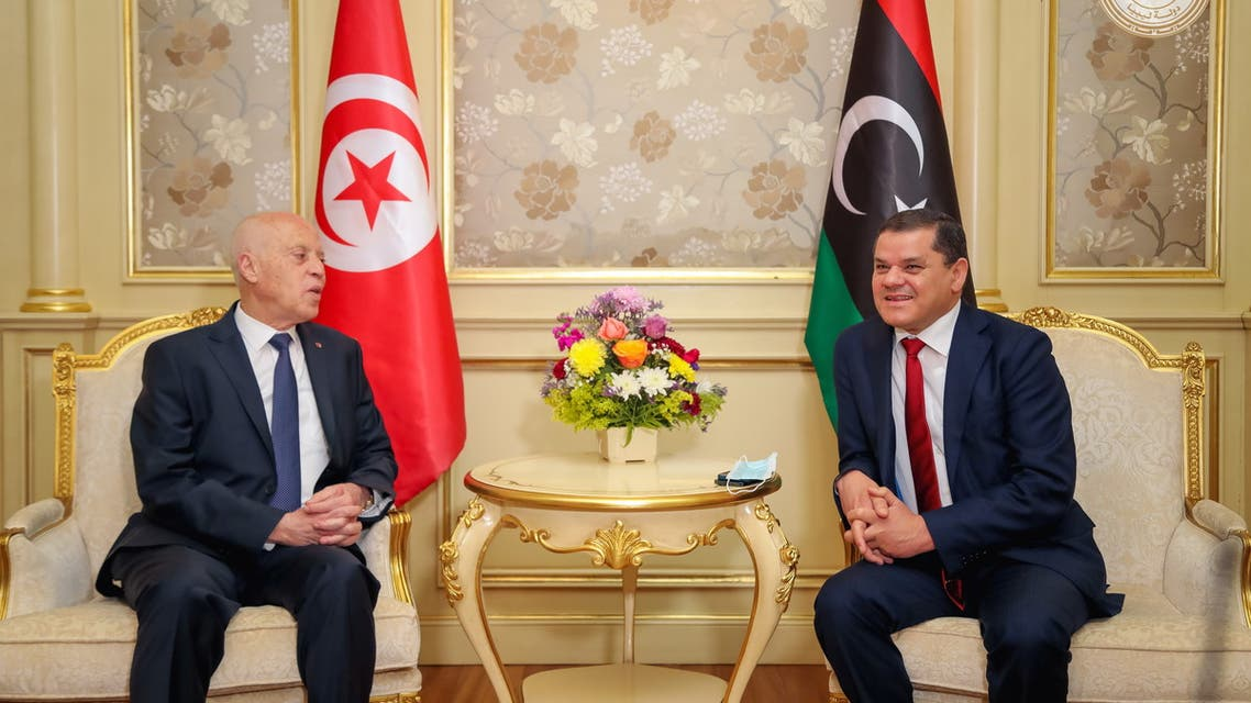 Tunisia's President Kais Saied meets with Libya's Prime Minister Abdulhamid Dbeibeh in Tripoli, Libya March 17, 2021. (Reuters)
