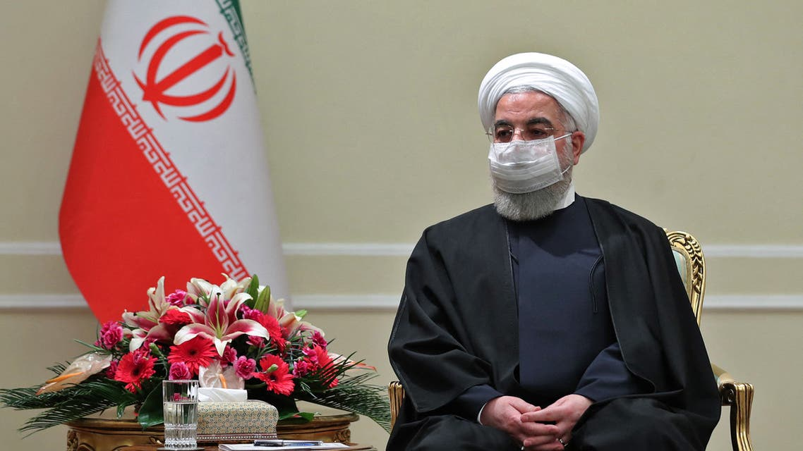 A handout picture provided by the Iranian presidency on March 7, 2021, shows Iran's President Hassan Rouhani during a meeting with Irish Minister for Foreign Affairs Simon Coveney (not pictured) in the capital Tehran.
