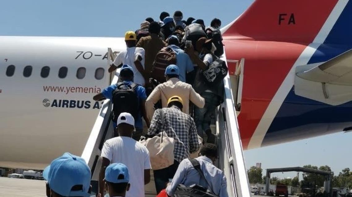 African migrants transported out of Yemen on a UN-sponsored flight. (Supplied)