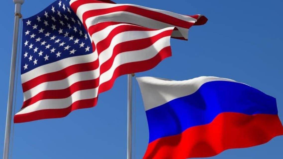 Russia and America flags
