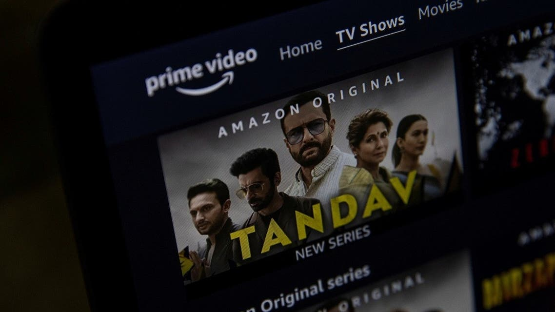 A poster of Tandav, a web series is seen on Amazon Prime Video streaming service website in this illustration picture taken on March 5, 2021. (Reuters)