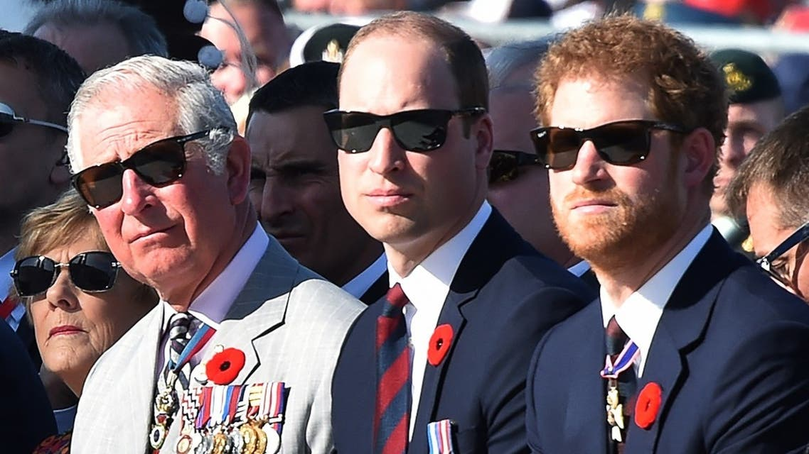 (LtoR) Britain's Prince Charles, Prince William, and Prince Harry, attend a commemoration ceremony at the Canadian National Vimy Memorial in Vimy, near Arras, northern France, on April 9, 2017. (Philippe Huguen/Pool/AFP)