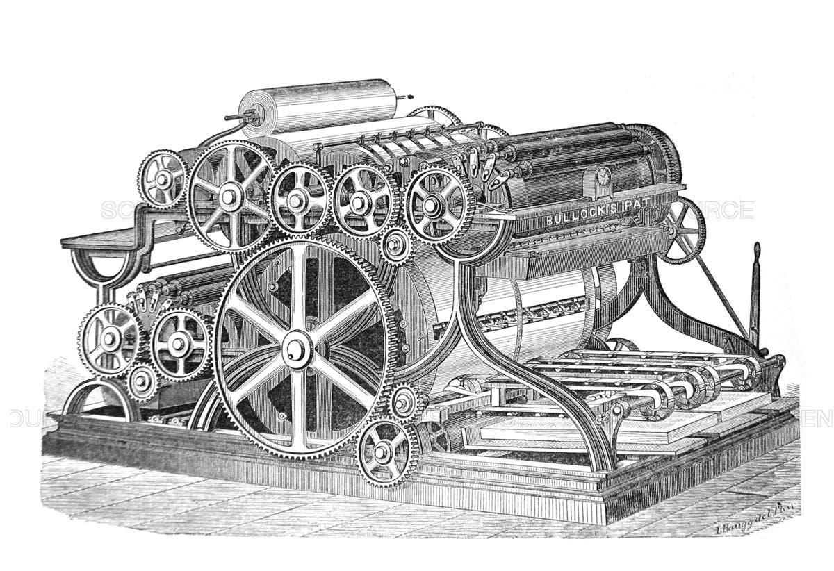 رسم تقني لإحدى آلات الطباعة التي ابتكرها بولوك