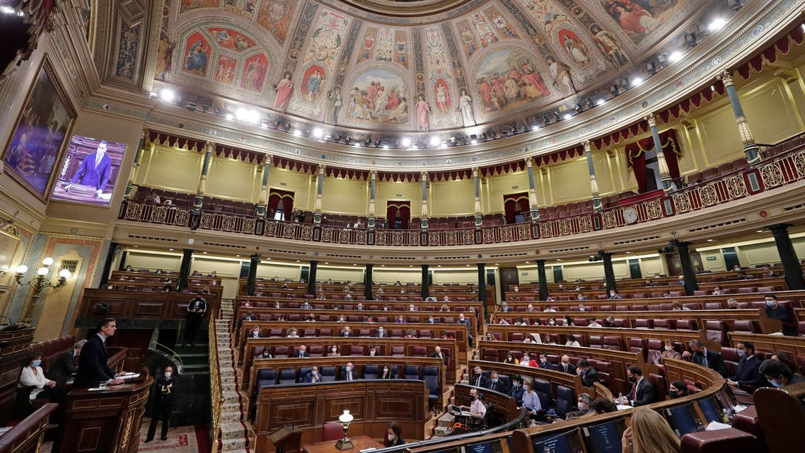A view of the Spanish parliament building in Madrid, Spain, on Wednesday Oct. 21, 2020. (AP)