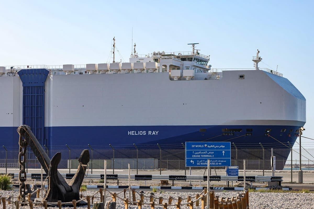 """سفينة """"هيليوس راي"""" المملوكة لشركة إسرائيلية والتي استهدفها هجوم في فبراير الماضي (أرشيفية)"""