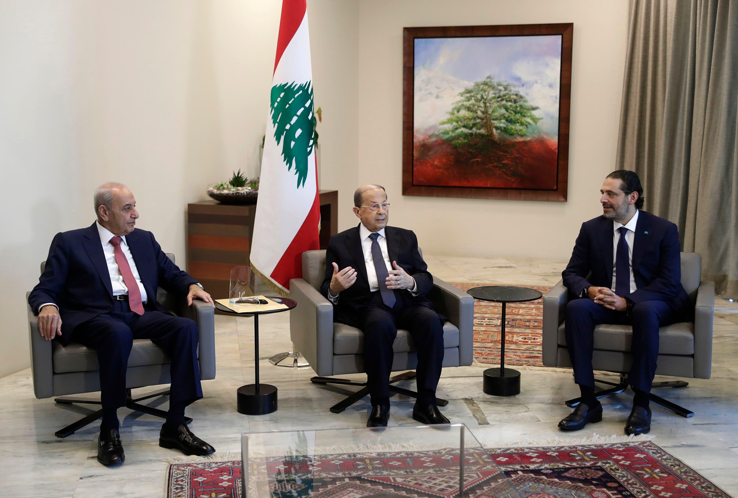 الرئاسات اللبنانية الثلاث في بعبدا (أرشيفية- أسوشييتد برس)