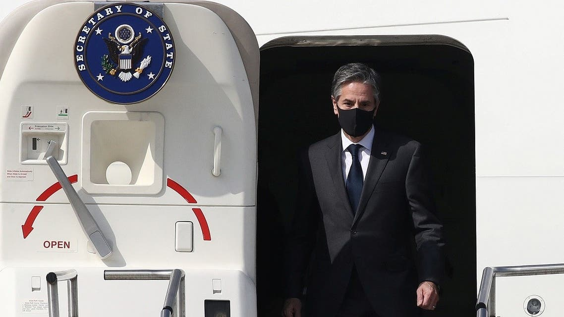 Secretary of State Antony Blinken arrives at Osan Air Base in South Korea March 17, 2021. (Reuters)