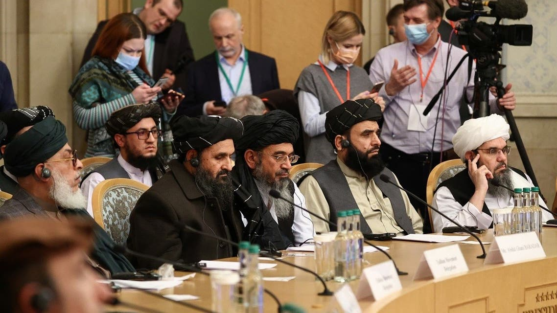 Officials attend the Afghan peace conference in Moscow, Russia, on March 18, 2021.(Reuters)
