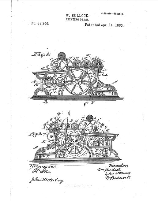 صورة جانبية لآلة الطباعة التي ابتكرها بولوك