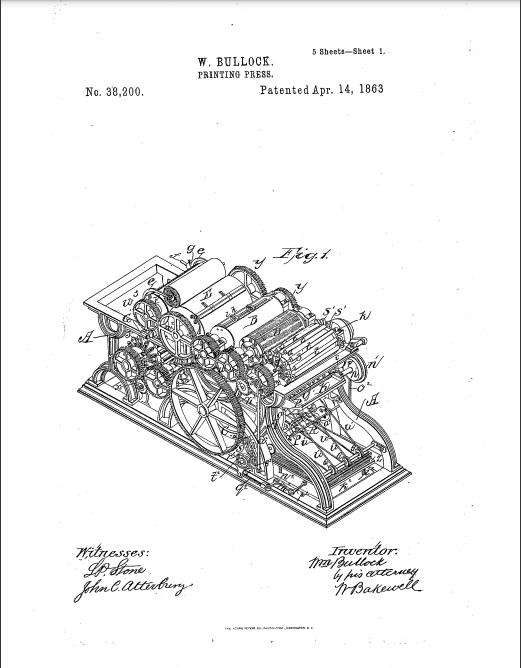 صورة لمخطط آلة الطباعة التي ابتكرها بولوك