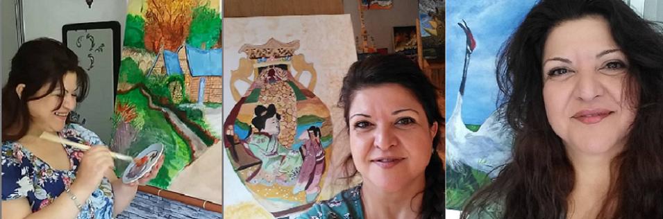 صور من انستاغرام للفنانة التشكيلية رائفة الرز، المقيمة لاجئة منذ سنوات مع ابنها في هولندا