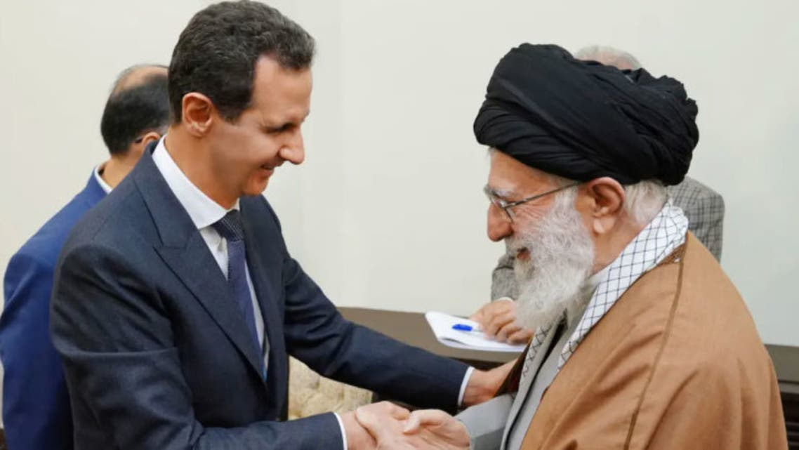 Iranian Leader Ali Khamenei with the President of the Syrian regime, Bashar al-Assad, during a visit to Tehran in 2019