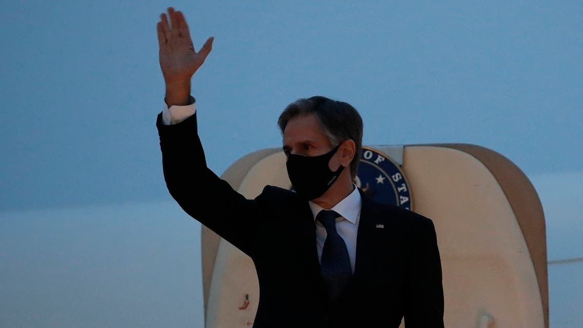 Secretary of State Antony Blinken waves as he boards a plane at the Osan Air Base in South Korea, March 18, 2021. (AP)