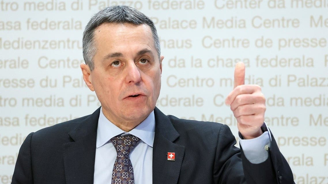 Swiss Foreign Minister Ignazio Cassis attends a news conference in Bern, Switzerland, Dec. 18, 2020. (Reuters)
