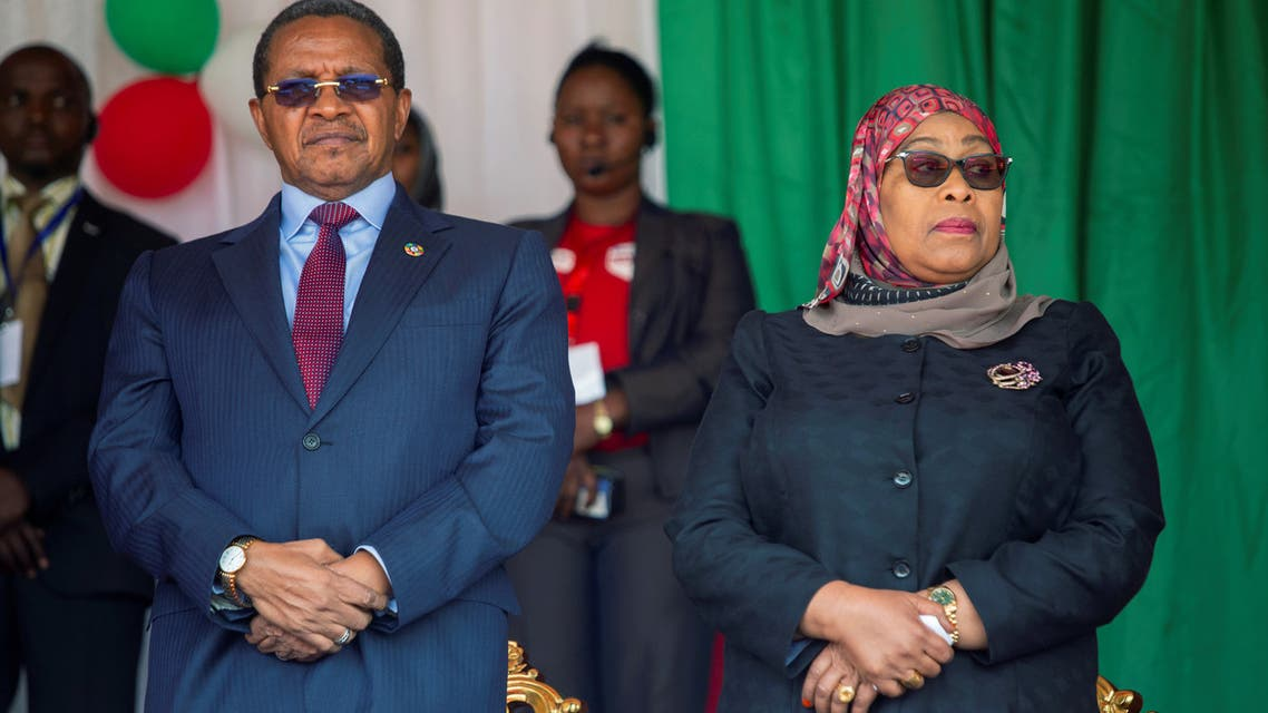 Former Tanzania's President Jakaya Kikwete and Tanzania's Vice President Samia Suluhu Hassan attend the inauguration ceremony of Burundi's President elect Evariste Ndayishimiye at the Ingoma stadium in Gitega. (File photo: Reuters)