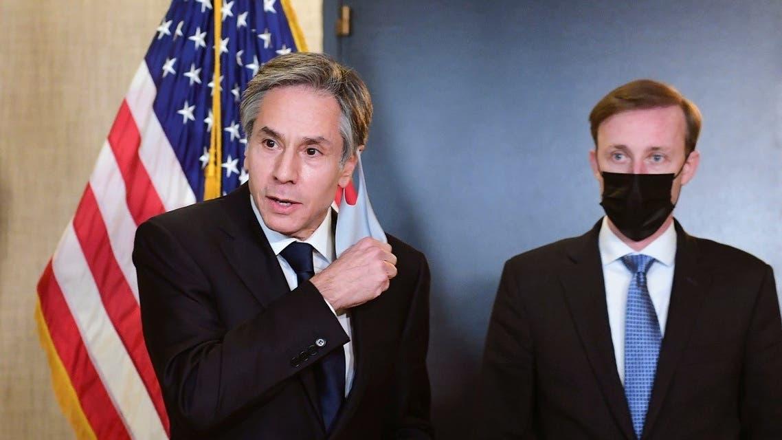 Secretary of State Antony Blinken and NSA Jake Sullivan in Alaska, March 18, 2021. (Reuters)
