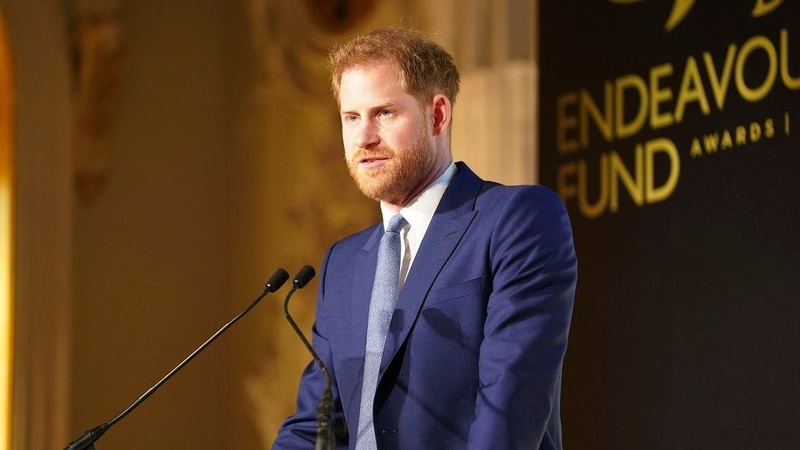 Britain's Prince Harry speaks at the Endeavour Fund Awards at Mansion House in London, March 5, 2020. (Paul Edwards/Pool Photo via AP)