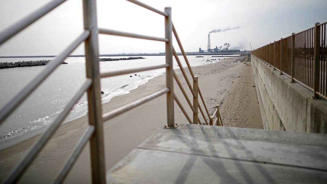 A long sea wall is seen at the coastal area devastated by the March 11, 2011, earthquake and tsunami in Ishinimaki, Miyagi Prefecture, northern Japan, March 1, 2021. (Reuters)