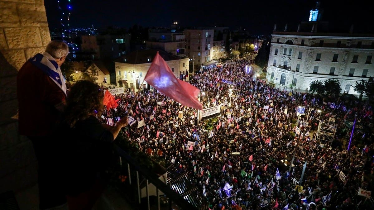 Thousands rally at anti-Netanyahu protest ahead of election that could see his exit