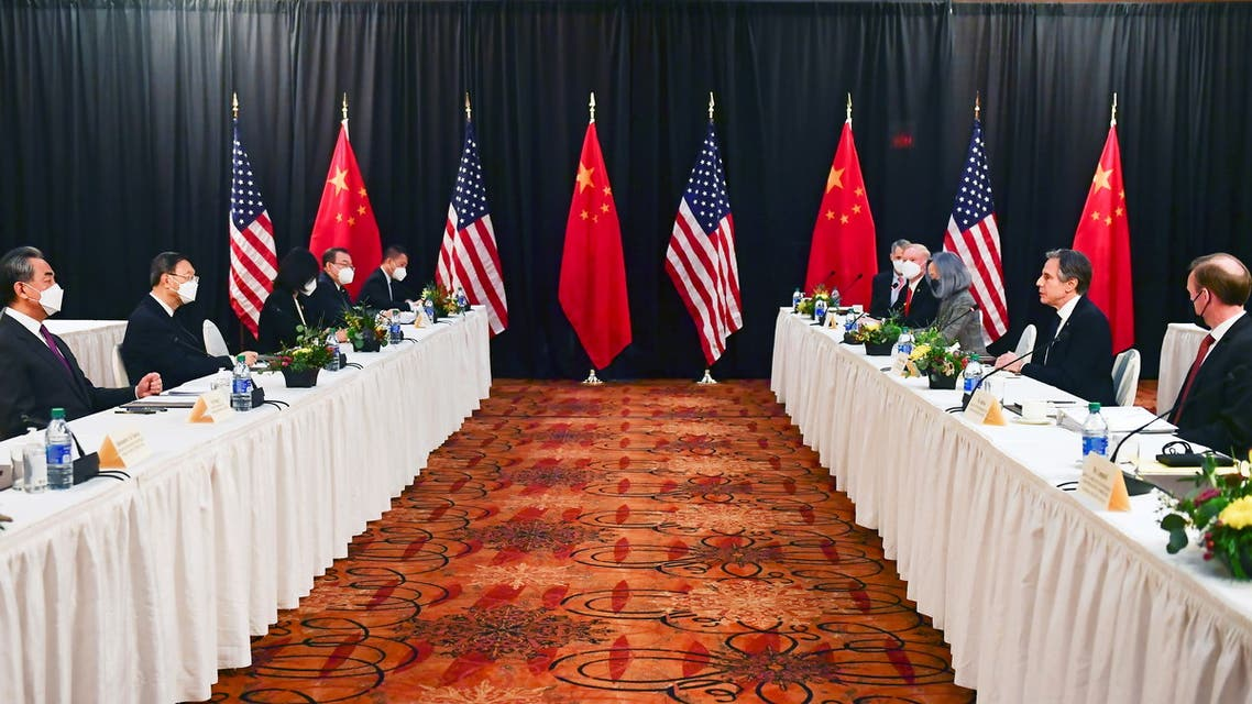 US Secretary of State Antony Blinken (2nd R), joined by National Security Advisor Jake Sullivan (R), speaks while facing Yang Jiechi (2nd L), director of the Central Foreign Affairs Commission Office, and Wang Yi (L), China's State Councilor and Foreign Minister, at the opening session of US-China talks at the Captain Cook Hotel in Anchorage, Alaska, US March 18, 2021. (Reuters)
