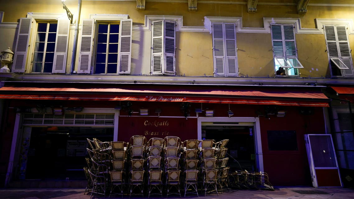 Stacked tables are seen on the terrace of a closed restaurant in Nice as France's 16 hardest-hit departments will go into a third lockdown imposed to slow the rate of the coronavirus disease (COVID-19) contagion, in Nice, France March 19, 2021. REUTERS/ Eric Gaillard