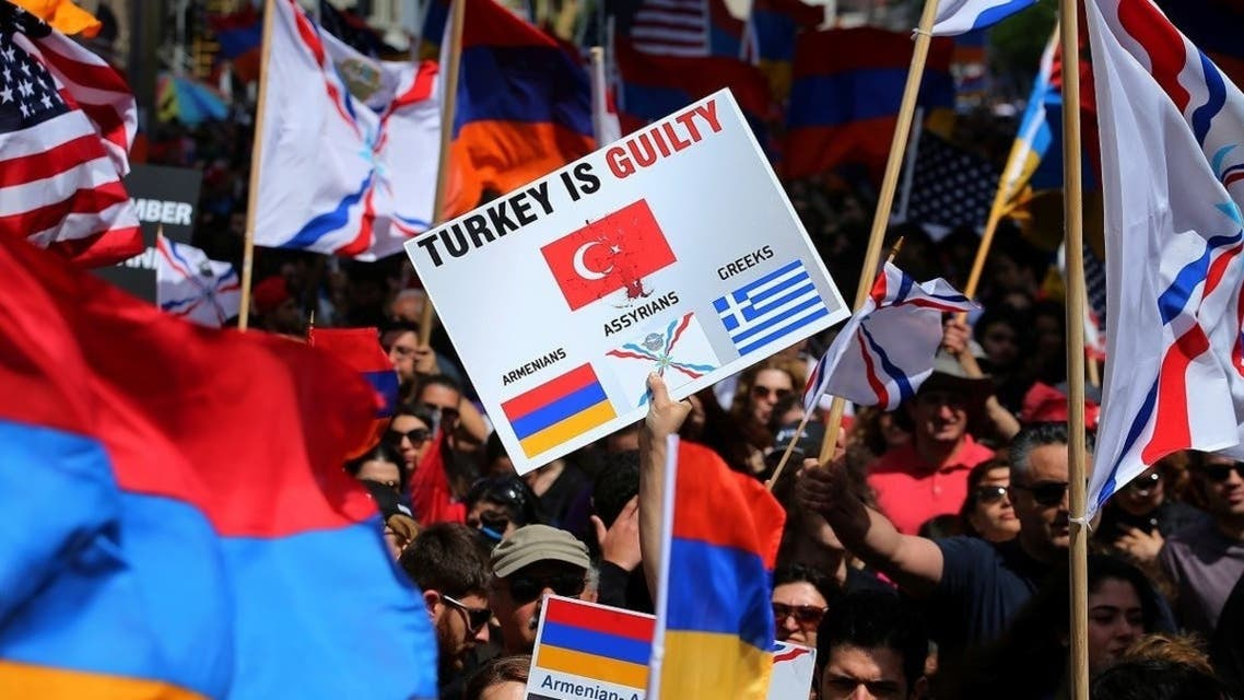 Protesters rally outside the Turkish Consulate in commemoration of the 102nd anniversary of the Armenian genocide in Los Angeles, California, April 24, 2017. (Reuters)