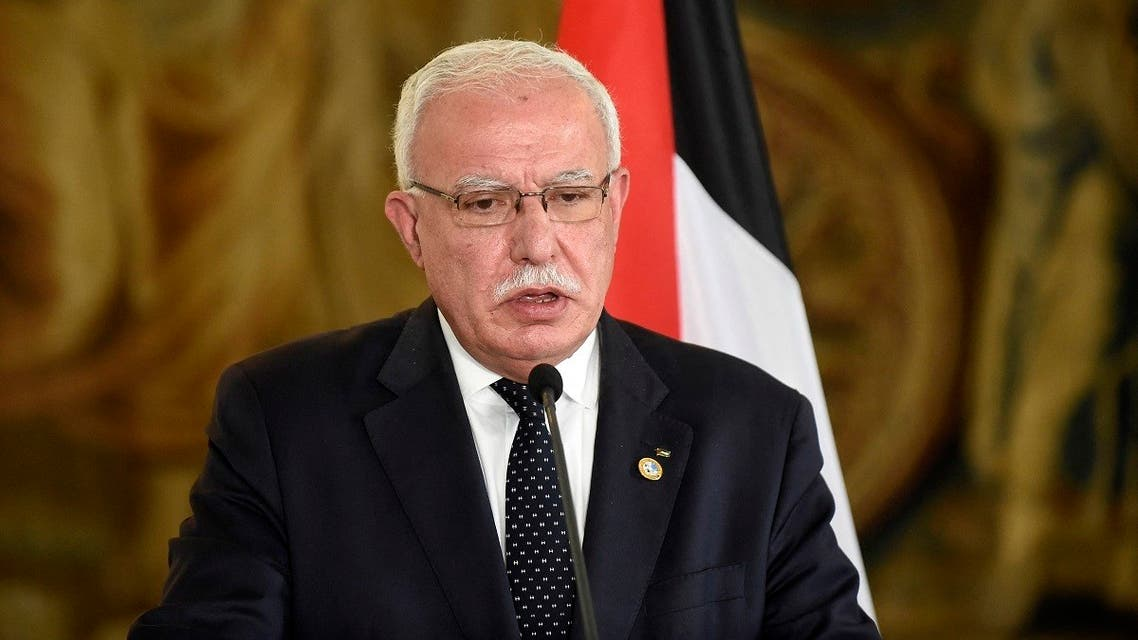Palestinian Foreign Minister, Riyad al-Maliki speaks during a press conference with Czech Foreign Minister at the Czernin Palace on July 8, 2019 in Prague. (Michal Cizek/AFP)