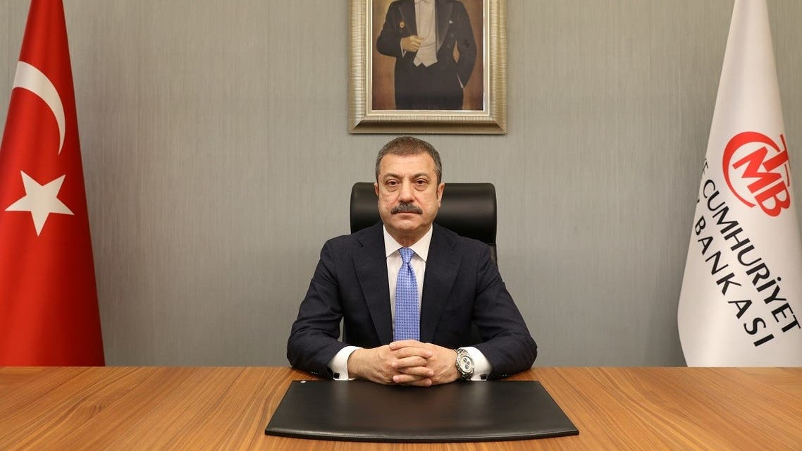 Turkey's new Central Bank Governor Sahap Kavcioglu sits at his office in Ankara, Turkey March 21, 2021. (Turkish Central Bank/Handout via Reuters)