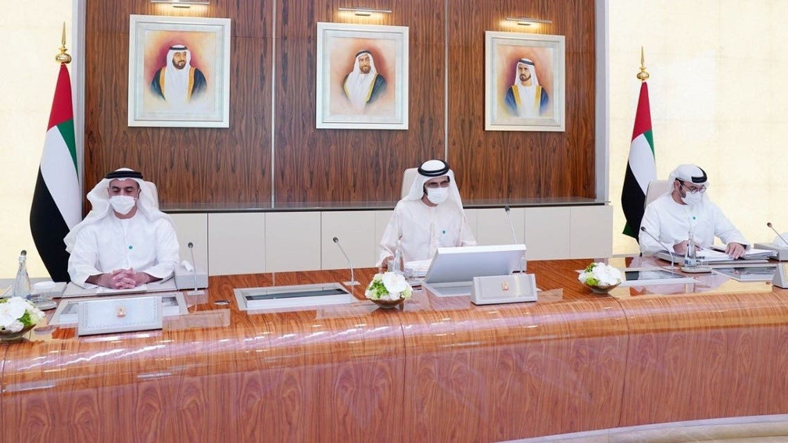 UAE Vice-President Sheikh Mohammed bin Rashid Al Maktoum, who is also Dubai's ruler (C), chairing the federal cabinet meeting on Sunday, March 21, 2021. (Twitter)