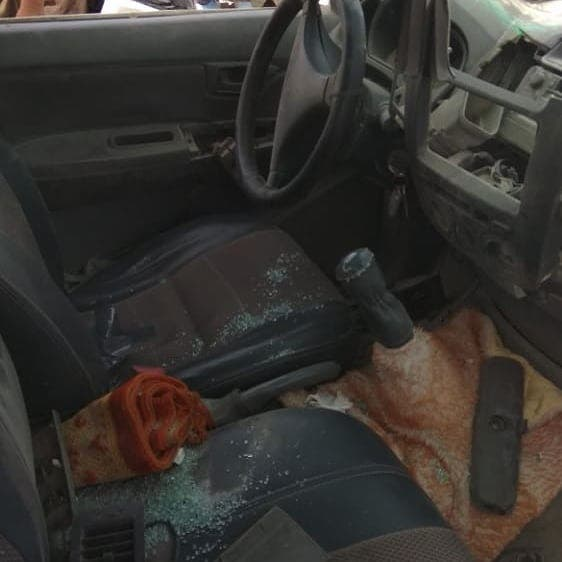 A car's windows are destroyed after an explosion in southeastern Iran. (Supplied)