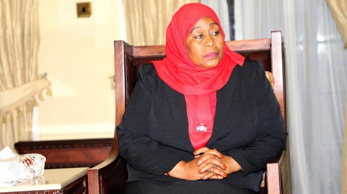 Tanzania's new President Samia Suluhu Hassan is seen after taking oath of office following the death of her predecessor at State House in Dar es Salaam, Tanzania, on March 19, 2021. (Reuters)
