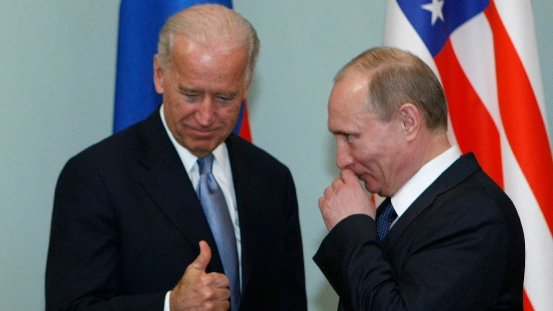 A file photo of then Vice President of the United States Joe Biden, left, gestures as he meets then Russian Prime Minister Vladimir Putin in Moscow, Russia, March 10, 2011.(AP)