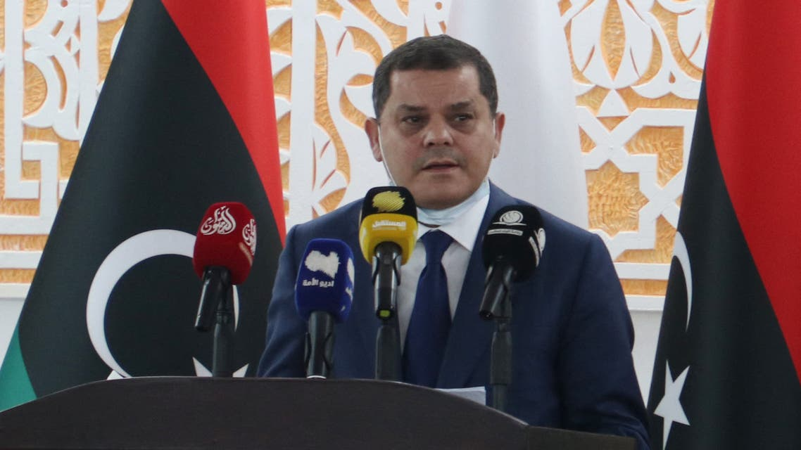 Libya's new interim prime minister Abdul Hamid Dbeibah speaks after being sworn in the eastern Libyan city of Tobruk on March 15, 2021 to lead the war-torn country's transition to elections in December. AFP