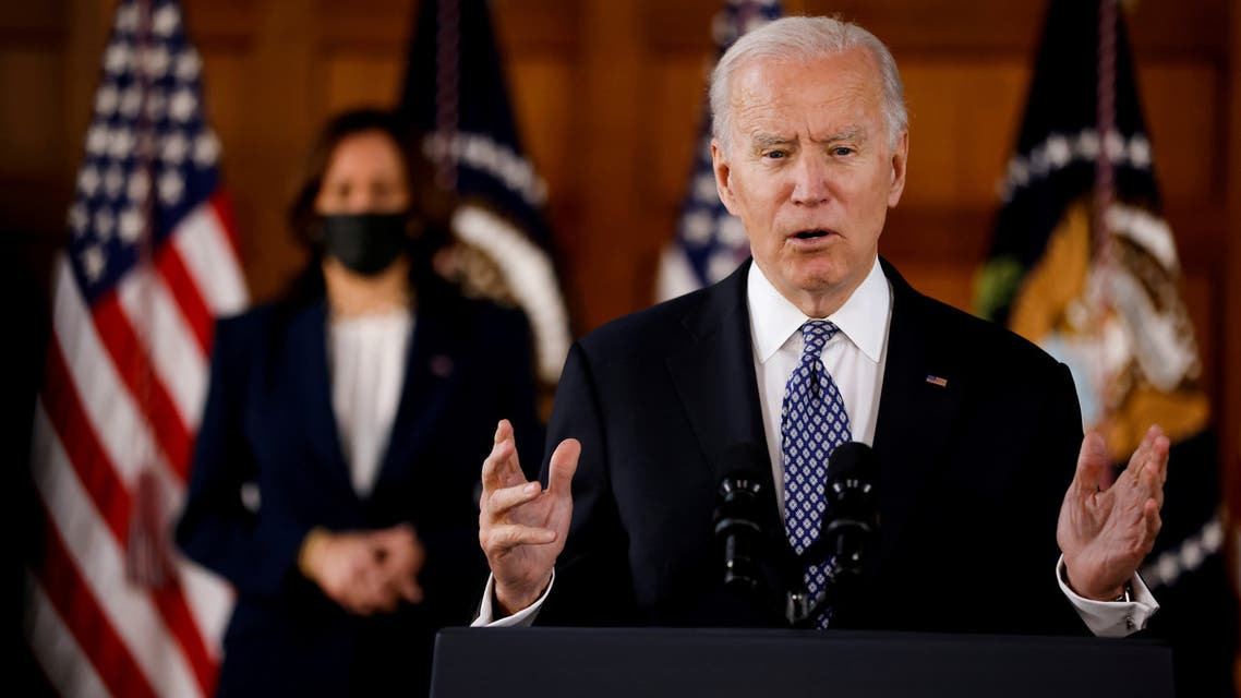 FILE PHOTO: U.S. President Joe Biden and Vice President Kamala Harris deliver remarks after meeting with Asian-American leaders to discuss the ongoing attacks and threats against the community, during a stop at Emory University in Atlanta, Georgia, U.S., March 19, 2021. REUTERS/Carlos Barria/File Photo