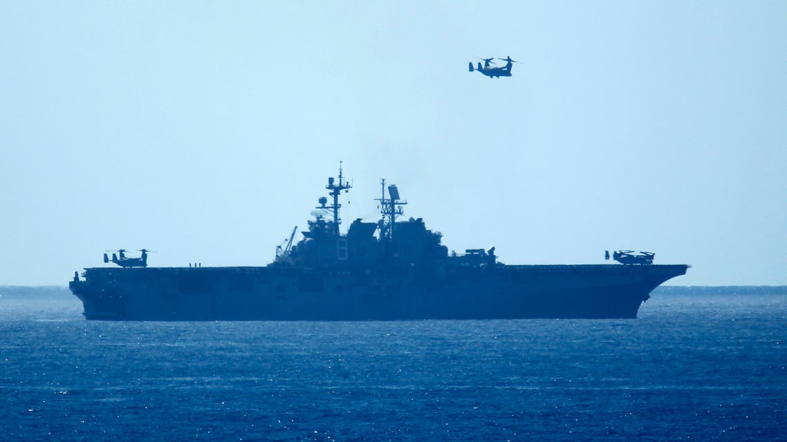 A V-22 Osprey aircraft flies over the USS Makin Island as the Amphibious Ready Group and 11th Marine Expeditionary Unit return after a seven month deployment to Camp Pendleton, California February 23, 2015. (File photo: Reuters)