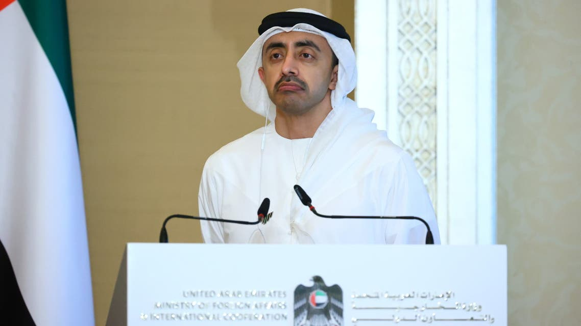 UAE's Foreign Minister Abdullah Bin Zayed Al Nahyan attends a news conference following talks with Russia's Foreign Minister Sergei Lavrov in Abu Dhabi, United Arab Emirates March 9, 2021. Russian Foreign Ministry/Handout via REUTERS ATTENTION EDITORS - THIS IMAGE WAS PROVIDED BY A THIRD PARTY. NO RESALES. NO ARCHIVES. MANDATORY CREDIT.