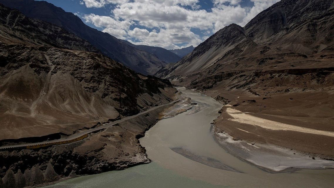 A highway being built by the Border Roads Organisation (BRO) passes by the confluence of the Indus and Zanskhar rivers in the Ladakh region, India, September 17, 2020. (Reuters/Danish Siddiqui)