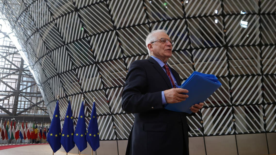 European Union Minister for Foreign Affairs Josep Borrell speaks to media before an EU foreign ministers meeting in Brussels, Belgium March 22, 2021. Aris OIkonomou/Pool via Reuters