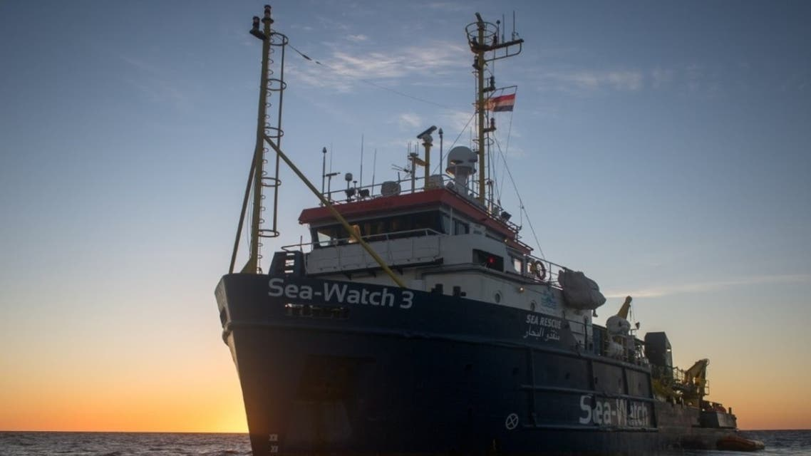 The Sea-Watch 3 vessel, run by the Sea-Watch organization, is being held by the Italian coastguard in the Sicilian port of Augusta. (Twitter)