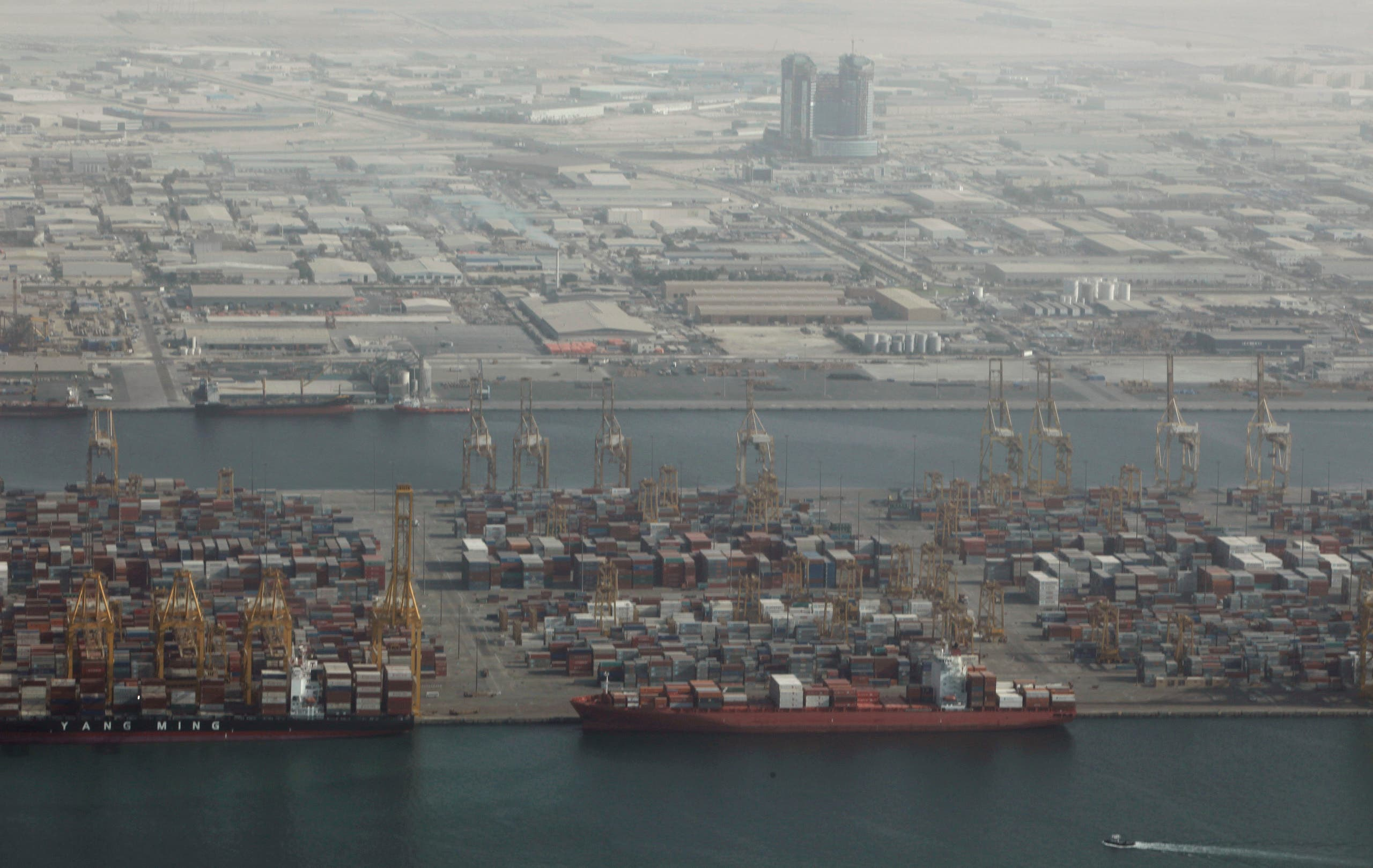 An aerial view of Jebel Ali Port in Dubai October 25, 2010. (Reuters)