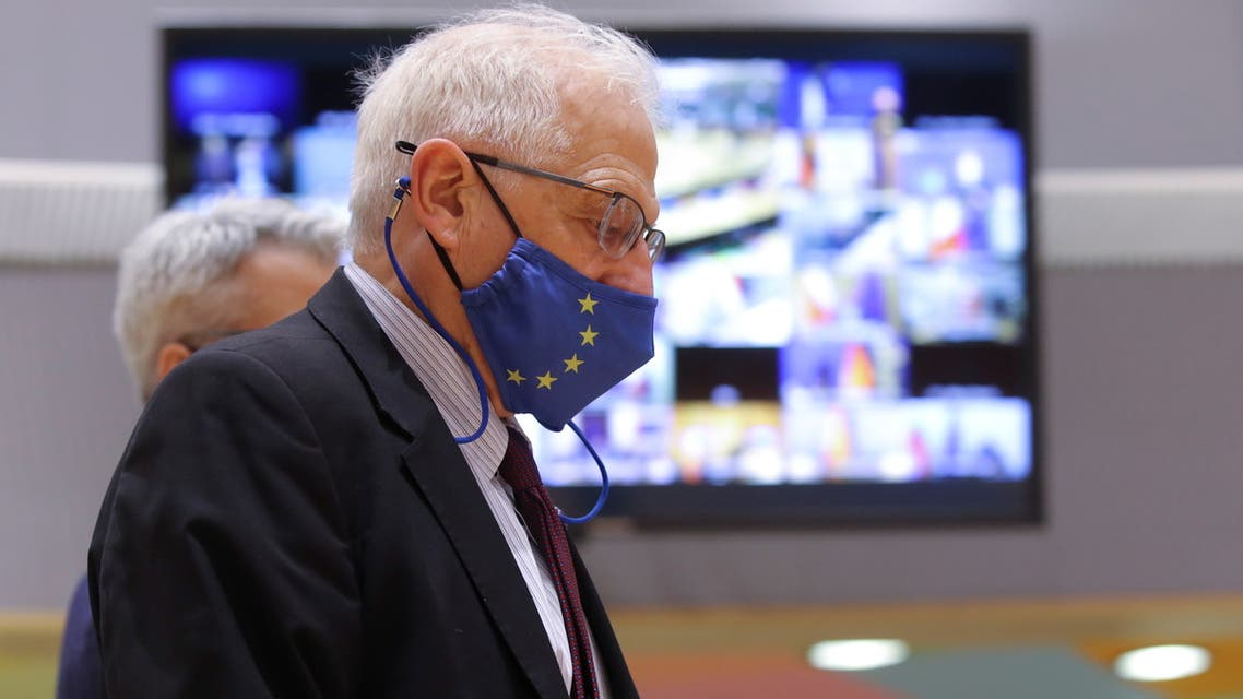 European High Representative of the Union for Foreign Affairs, Josep Borrell attends European Foreign Ministers and Interior Ministers Council in Brussels, Belgium, March 15, 2021. Olivier Hoslet/Pool via REUTERS