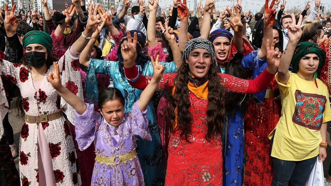 Supporters of pro-Kurdish Peoples' Democratic Party (HDP) gather to celebrate Newroz, which marks the arrival of spring, in Diyarbakir, Turkey. (Reuters)