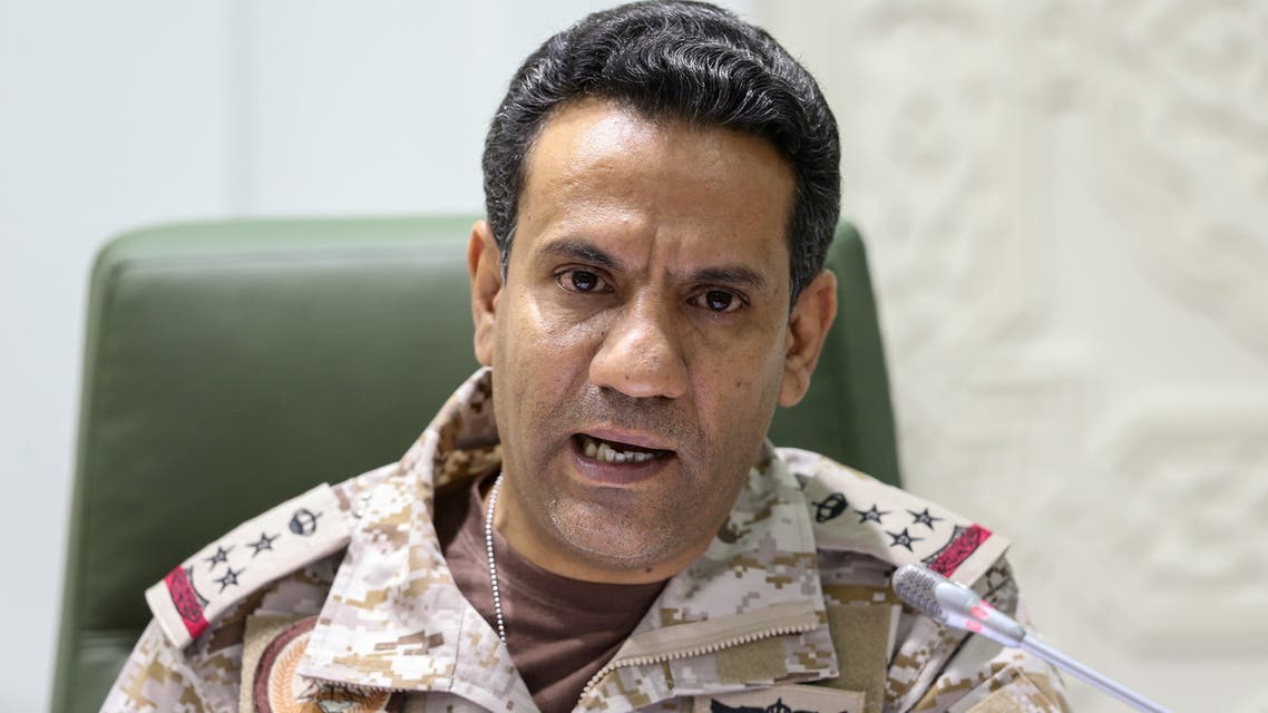 Saudi-led coalition spokesman, Colonel Turki al-Malki, speaks during a news conference in Riyadh, Saudi Arabia March 22, 2021. REUTERS/Ahmed Yosri