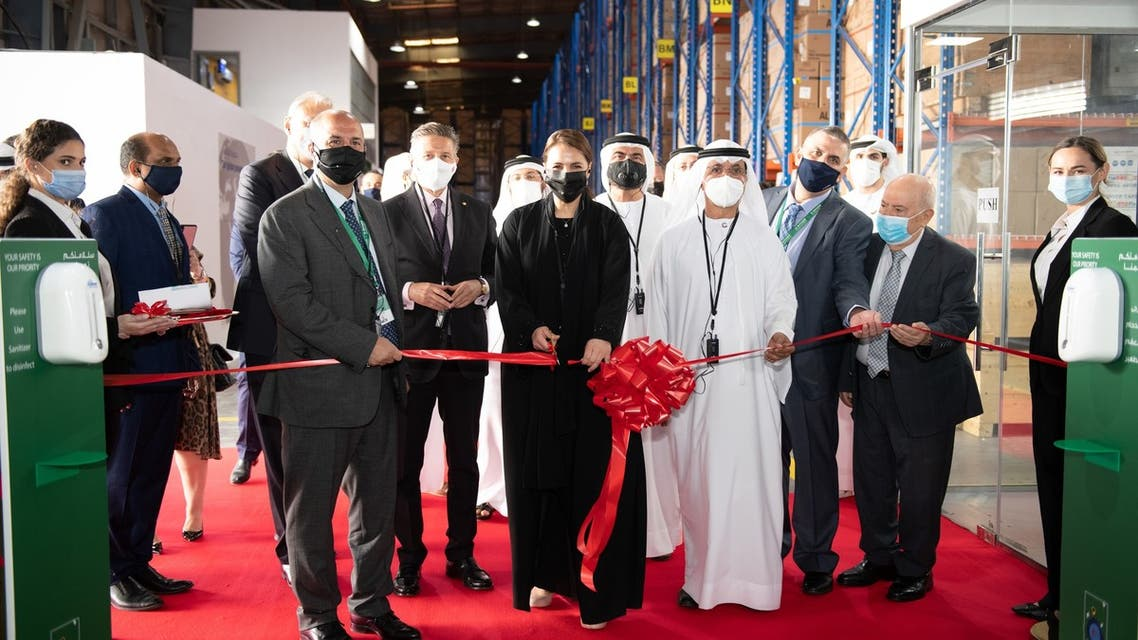 Mariam Al Mheiri cutting the ribbon for the expansion of Al Bayader International Jebel Ali manufacturing facility. (Supplied)