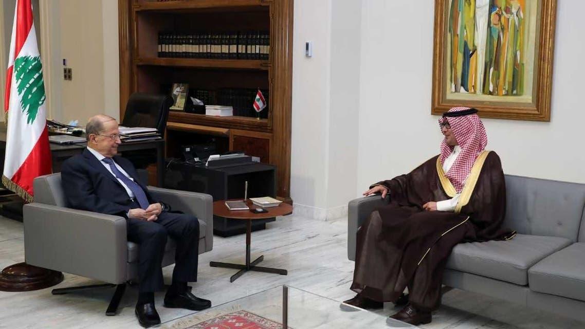Lebanese President Michel Aoun (left) and Saudi Arabia's Ambassador to Lebanon Walid Bukhari. (Twitter)