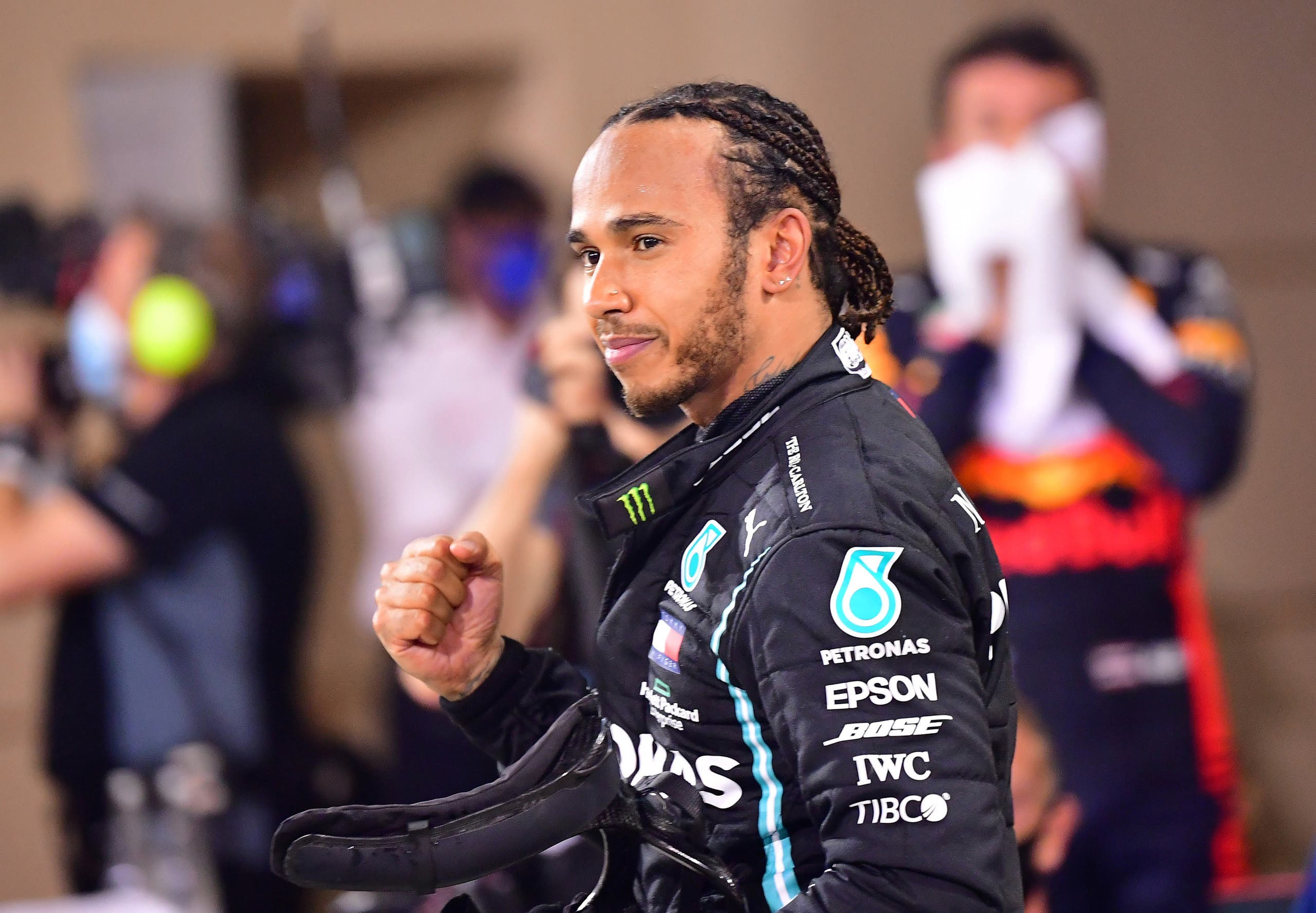 Mercedes' Lewis Hamilton celebrates after winning the race Pool during Bahrain Grand Prix on November 29, 2020. (File photo: Reuters)